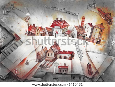 Little town and fields. Illustration by Eugene Ivanov.