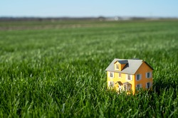 Little toy model yellow house in he middle of large grass meadow field. Horizon line and sky. Miniature, scale, downsize, mortgage payment, big yard, tiny, small,