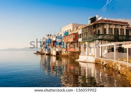 Little Venice at sunset on Mykonos Island in the Mediterranean Sea. Greece.