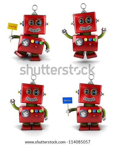 Little vintage toy robot set jumping and waving over white background