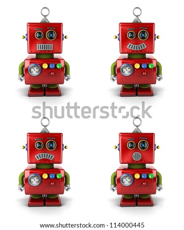 Little vintage toy robot with four different facial expressions over white background