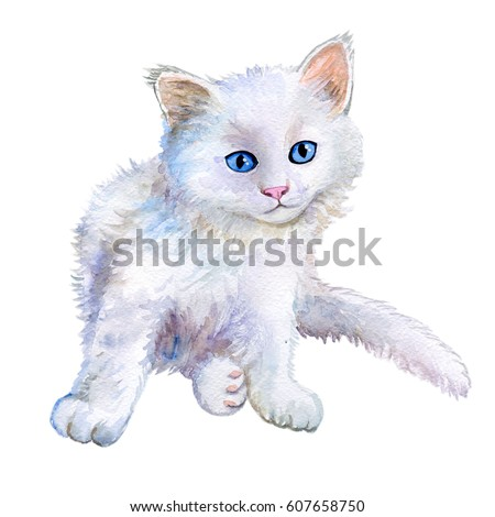 Stock Photo Little white kitten. Watercolor. Illustration kitten for fashion print, poster, textiles, fashion design. Close-up. Hand drawn illustration