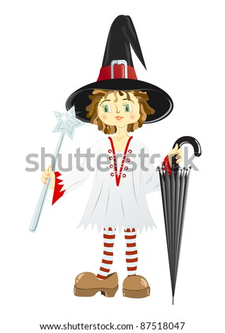 Little witch in black hat with an umbrella and a wand