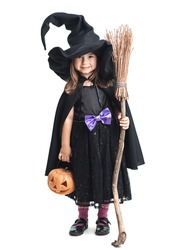 little witch with a broom and pumpkin on a white background