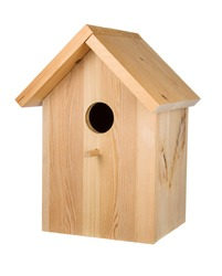Little wood birdhouse isolated on white background