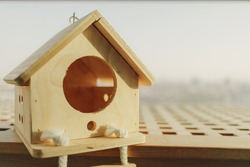Little wooden house for small pet in warm light in concept of buying dream house.