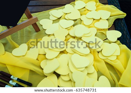 Little yellow hearts for the guests wishes. Writing wishing and congratulation to bride and groom. Wedding decoration  #635748731