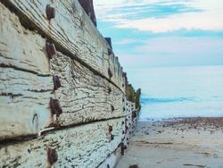 Littlehampton coast groin on a summers day