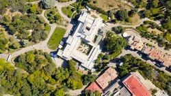Livadia, Crimea. Livadia Palace - located on the shores of the Black Sea in the village of Livadia in the Yalta region of Crimea. The inscription translated into English - Livadia Palace 1911-2020
