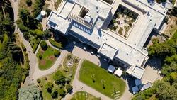 Livadia, Crimea. Livadia Palace - located on the shores of the Black Sea in the village of Livadia in the Yalta region of Crimea. The inscription translated into English - Livadia Palace 1911-2020, Ae