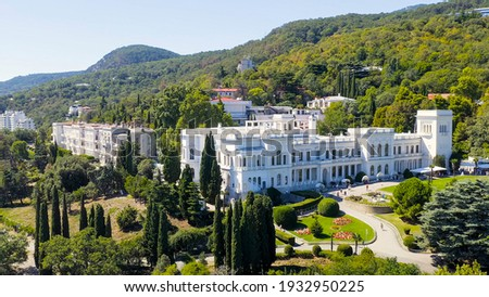 Livadia, Crimea. Livadia Palace - located on the shores of the Black Sea in the village of Livadia in the Yalta region of Crimea, Aerial View   Stock foto ©