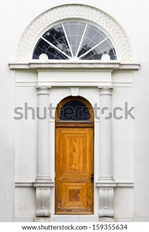 Livadia palace exterior. Vintage wooden door. Yalta, The Crimean Peninsula, Ukraine.