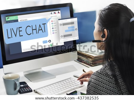 Live Chat Chatting Communication Digital Web Concept #437382535
