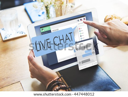 Live Chat Chatting Communication Digital Web Concept #447448012