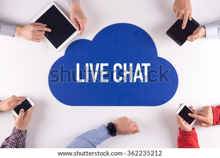 LIVE CHAT Group of People Digital Devices Wireless Communication Concept #362235212