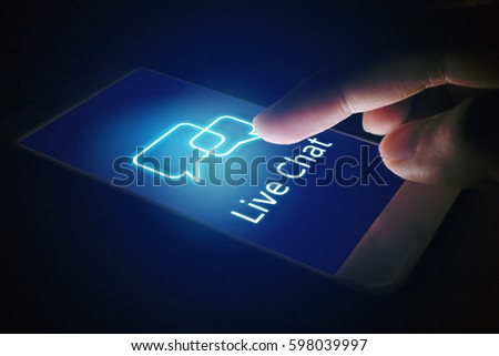 Live chat technology concept, woman hand pressing virtual screen on smartphone.