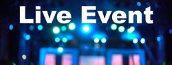 Live Event Text Over blurred photo of spotlight, Live concert online production broadcast, New Normal and Live show, Offline is over,covid outbreak, e-learning and online seminar, banner concept
