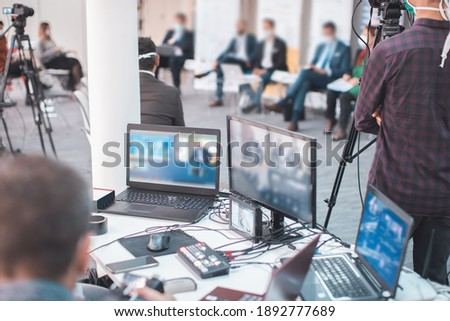 live internet streaming of business conference meeting Foto d'archivio ©