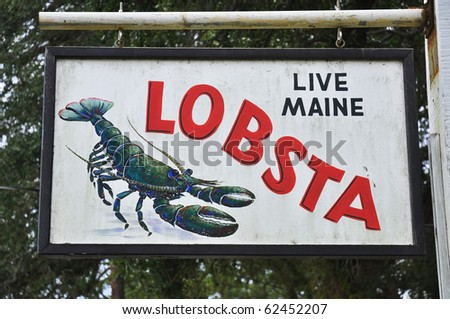 Live Maine Lobsters for sale sign