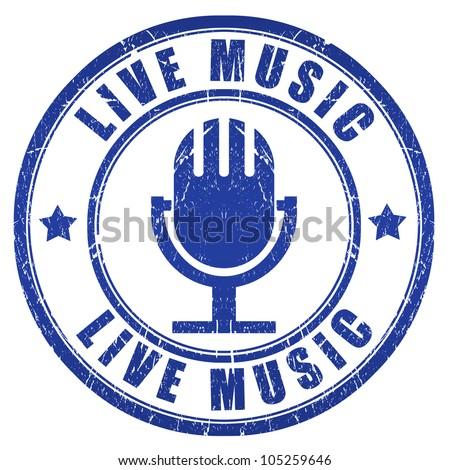 Live music grunge stamp
