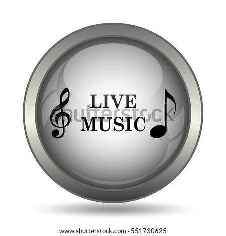 Live music icon, black website button on white background.