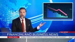 Live News Studio with Professional Anchor doing Financial and Business Report, Showing Stock Market Crash and Crisis Chart. Television Channel Newsroom with Newscaster Talking