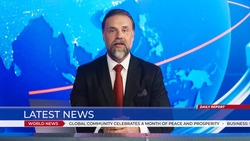 Live News Studio with Professional Anchor Reporting on the Events of the Day. Television Channel Newsroom with Newscaster Talking. Running Ticker Shows Latest News.