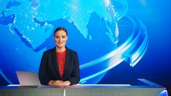 Live News Studio with Professional Female Newscaster Reporting on the Events of the Day. Broadcasting Channel with Presenter, Anchor Smiling on Camera. Mock-up TV Newsroom Set.
