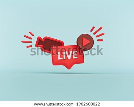 Live streaming Social media minimal icon. 3d rendering