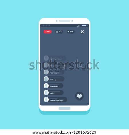Live video stream on phone. Online videos stories streaming on smartphone screen app interface, internet chat comments living streams UI button device  flat illustration