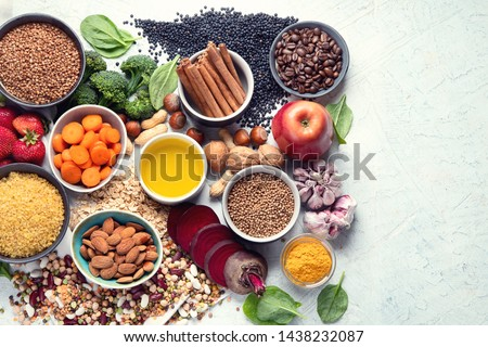 Liver detox diet food concept . Foods for healthy liver. Health foods high in antioxidants and fiber. Image with copy space. Top view