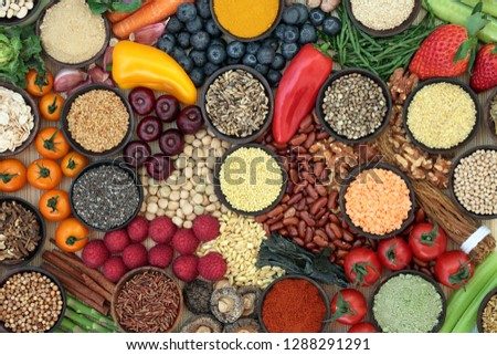 Liver detox diet health food concept with fresh fruit, vegetables, herbs, spices, supplement powders, legumes, herbal medicine, grains, nuts and seeds. Foods high in antioxidants, vitamins & fibre.
