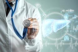 Liver hologram, liver pain. Concept for technology, hepatitis treatment, donation, online diagnostics. 3D rendering 3D illustration