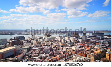 liverpool city aerial view  uk.