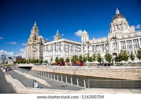 Liverpool city centre - Three Graces, buildings on Liverpool's waterfront, UK #116300704