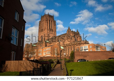 Liverpool City Centre View with historic buildings and parks Merseyside England UK