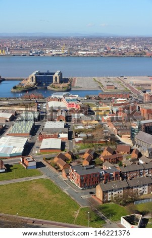 Liverpool - city in Merseyside county of North West England (UK). Aerial view with famous Pier Head UNESCO World Heritage Site.