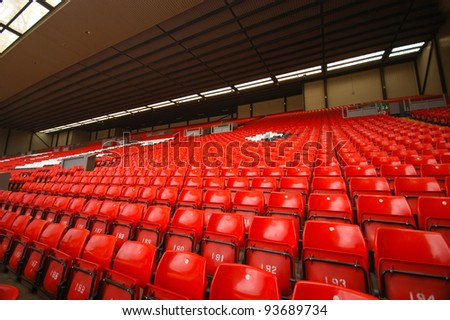LIVERPOOL, ENGLAND - JUNE 5: Anfield stadium on June 5, 2009 in Liverpool, England. Liverpool is one of the most successful English football clubs in UK.