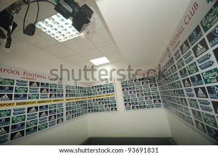 LIVERPOOL, ENGLAND - JUNE 5: Interview room in Anfield stadium on June 5, 2009 in Liverpool, England. Liverpool is one of the most successful English football clubs in UK.