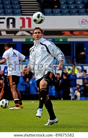 LIVERPOOL, ENGLAND - MAY 22: England international footballer Frank Lampard prepares for the English Premier League match between Everton and Chelsea at Goodison Park, Liverpool on May 22, 2011. - stock photo
