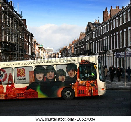Liverpool public transport bus commemorating Capital of Culture 2008