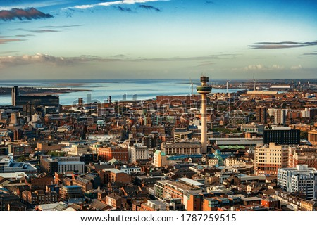 Liverpool skyline rooftop view with buildings in England in United Kingdom