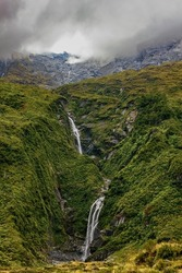 Liverpool track in Otago, New Zealand, offers views of many little waterfalls along the way.