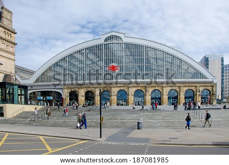 LIVERPOOL UK APR 9 2014 Liverpool Lime Street Railway Station Is The Main