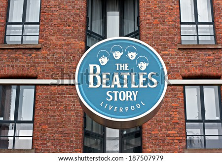 Liverpool UK, 26 March 2014, The Beatles Story Exhibition Sign, at Albert Dock, Liverpool, UK. A popular tourist attraction.