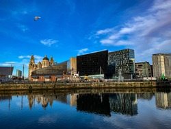 Liverpool waterfront in the winter sun