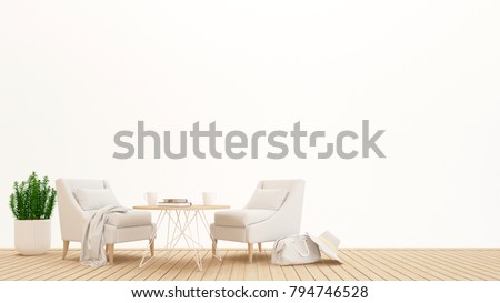 living area or dining area in hotel or condominium on white background - Inetrior design for artwork - 3D Rendering