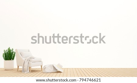 living area or lobby area in condominium or hotel on white background - living area design for artwork holiday time - 3D Rendering