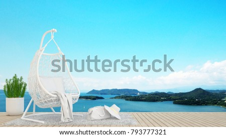 living area or relax area in hotel or condominium on island and sea background - artwork holiday - Simple design - 3D Rendering