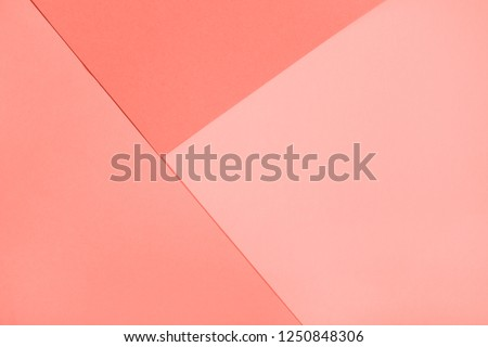 Living Coral abstract geometric paper background. Color of the year 2019. Main trend concept.